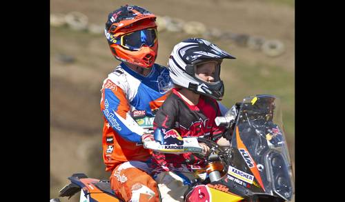 Australia's number one off-road rider, Toby Price together with a Challenge kid, enjoying the KTM Ride4Kids on Sunday, September 13 (Image JA Photography)