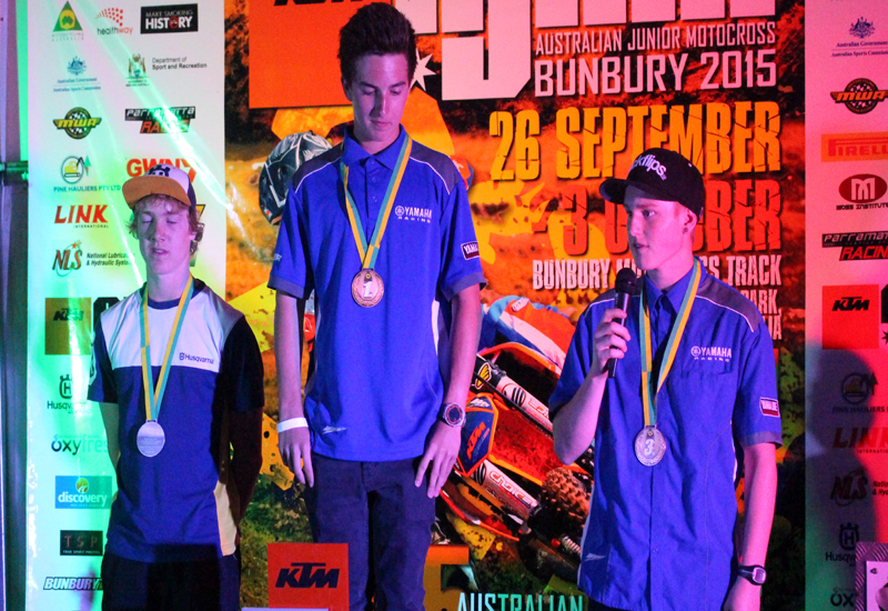 Official awards ceremony for the 2015 KTM Australian Junior Motocross Championship