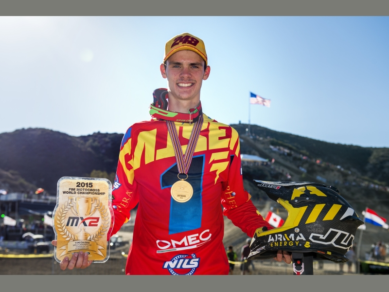 Tim Gasjer after winning the MX2 world title