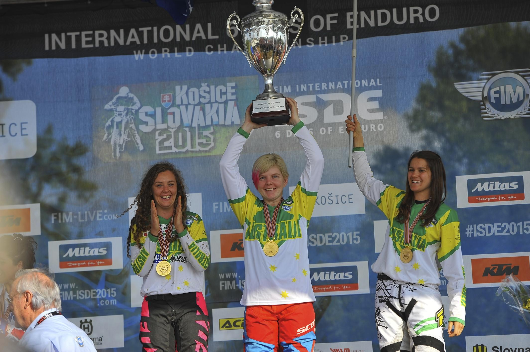 Tayla Jones celebrates her ISDE victory