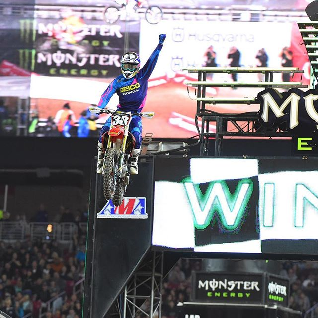 Christian Craig celebrates his maiden 250SX victory pic - Cudby