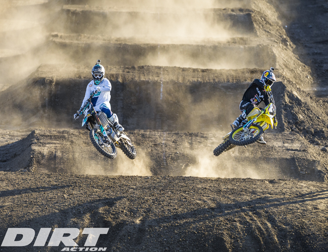 (L-R) Malcolm Stewart and James Stewart compete during Red Bull Straight Rhythm at the Auto Club Raceway at Fairplex in Pomona, California, USA on 4 October 2014. // Garth Milan/Red Bull Content Pool // P-20141005-00022 // Usage for editorial use only // Please go to www.redbullcontentpool.com for further information. //