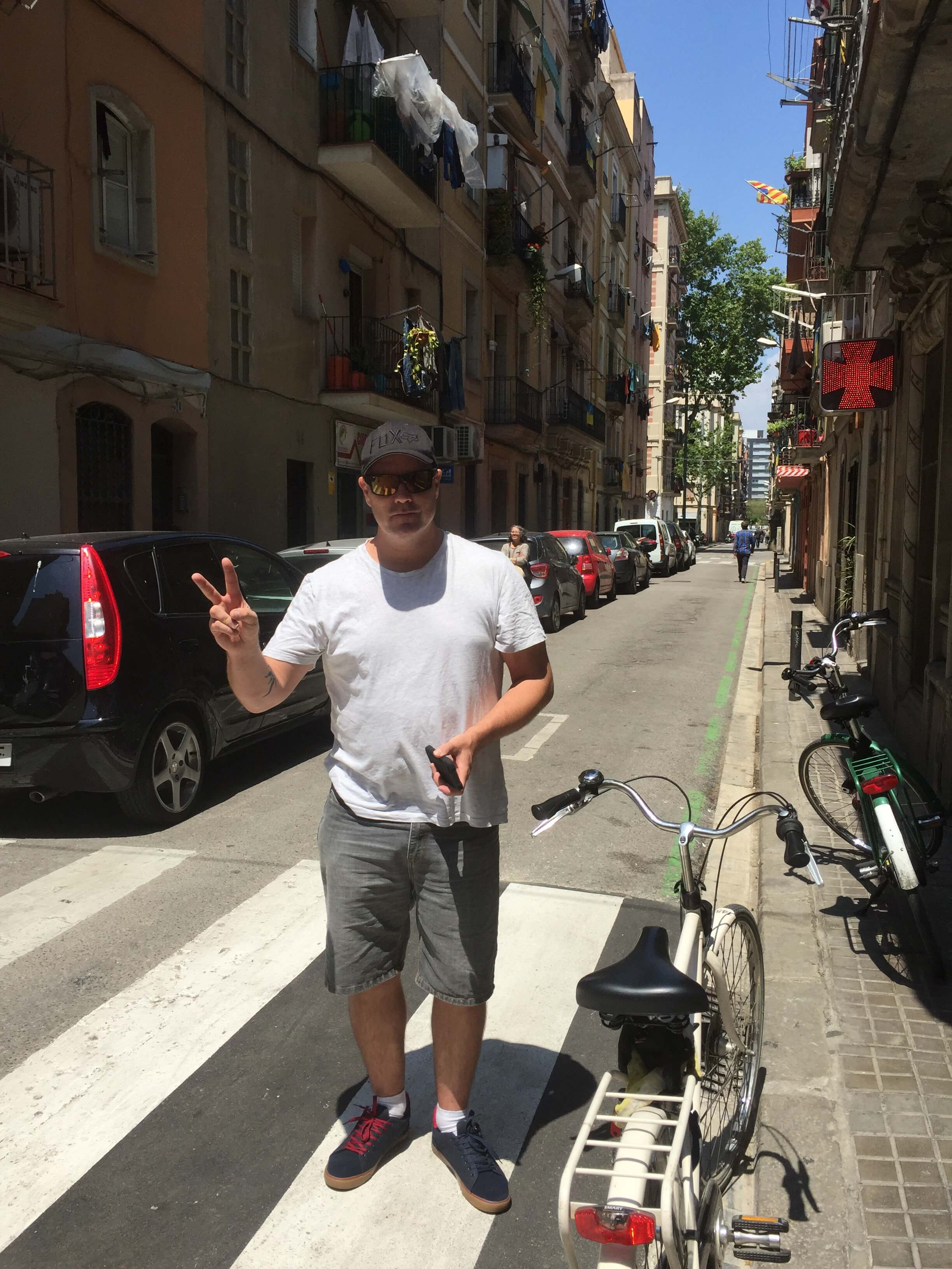 The first bike Damo rode in Spain was not quite as cool as the lasst bike he rode. Where's the basket