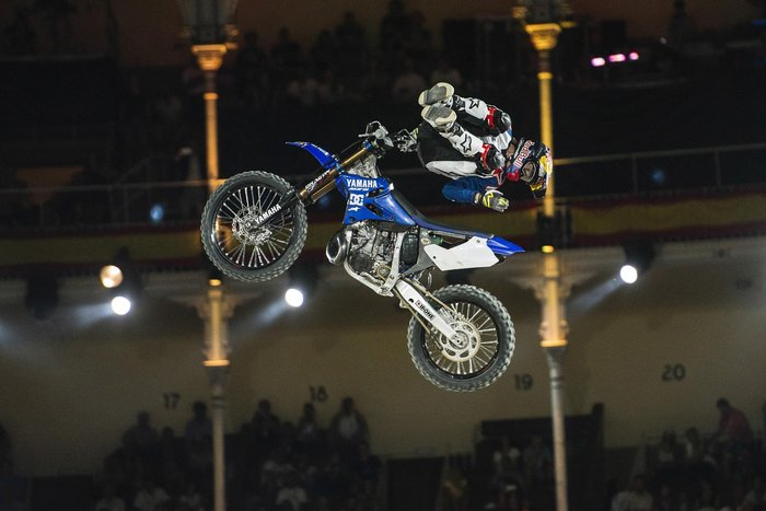 Tom Pages of France performs at the Plaza de Toros de Las Ventas during the finalsof the Red Bull X-Fighters in Madrid, Spain on June 24, 2016.