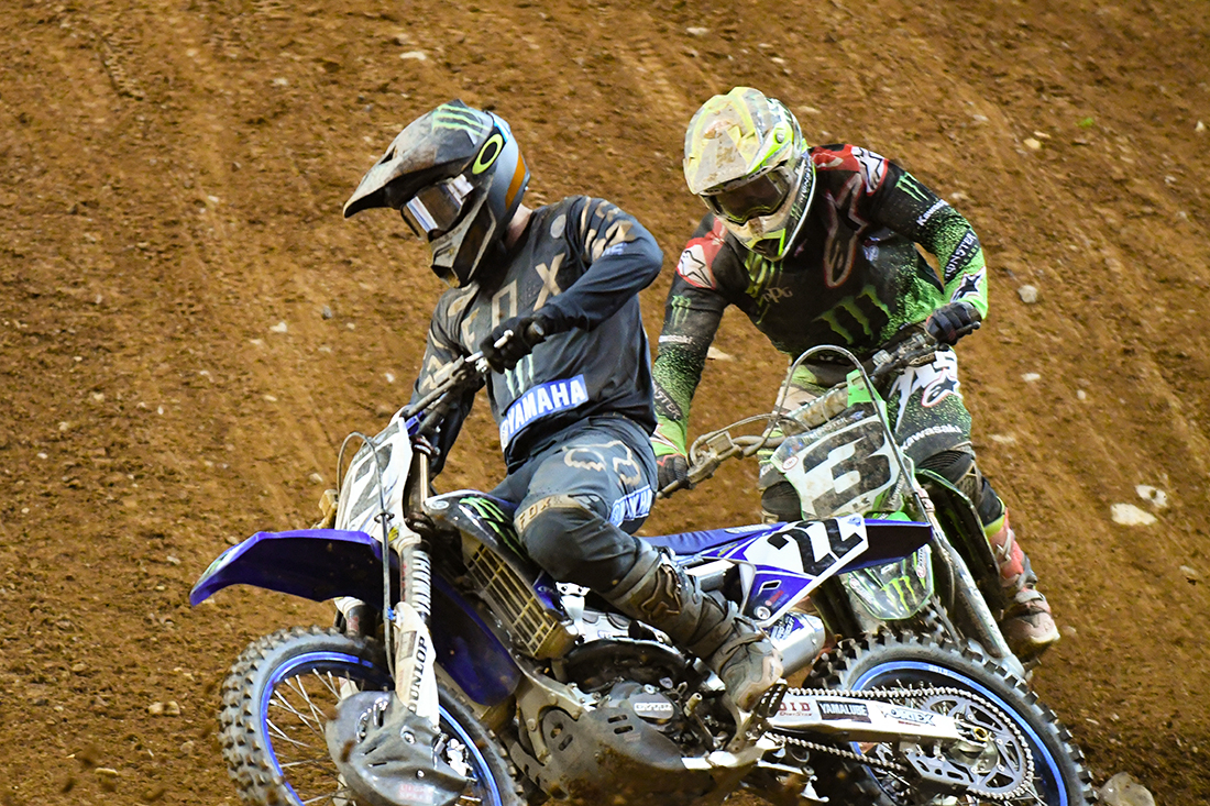 Chad Reed - Monster Energy Factory Yamaha leads Eli Tomac - Monster Energy Kawasaki during the Main Event  at the 2017 Monster Energy Supercross event in Atlanta.