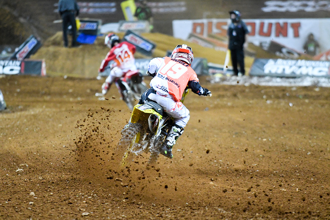 Justin Bogle - RCH Yoshimura Suzuki Factory Racing on the gas during the Main Event  at the 2017 Monster Energy Supercross event in Atlanta.