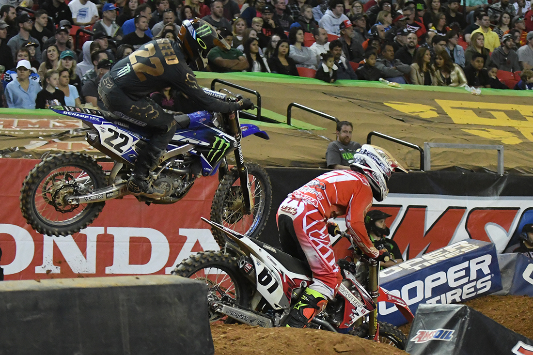 Chad Reed - Monster Energy Factory Yamaha battling Vince Friese - Smartop Motorconcepts Honda Yoshimura during the Main Event  at the 2017 Monster Energy Supercross event in Atlanta.