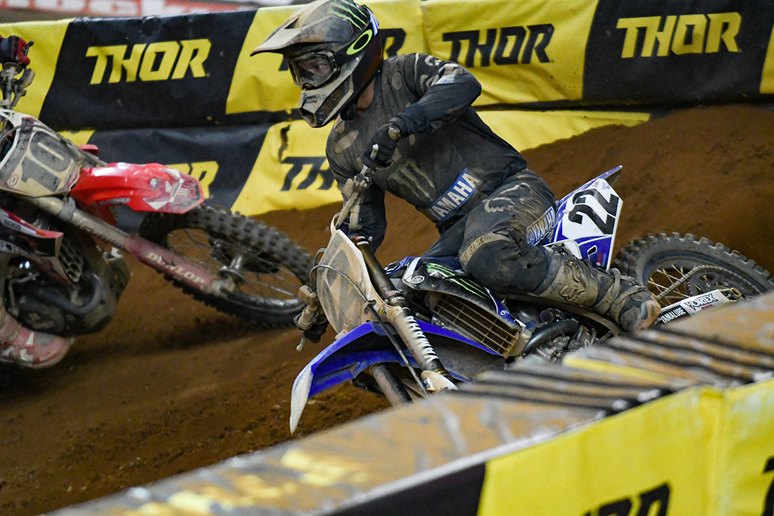 Chad Reed - Monster Energy Factory Yamaha leads Justin Brayton - Smarttop/MotoConcepts Honda during the Main Event  at the 2017 Monster Energy Supercross event in Atlanta.