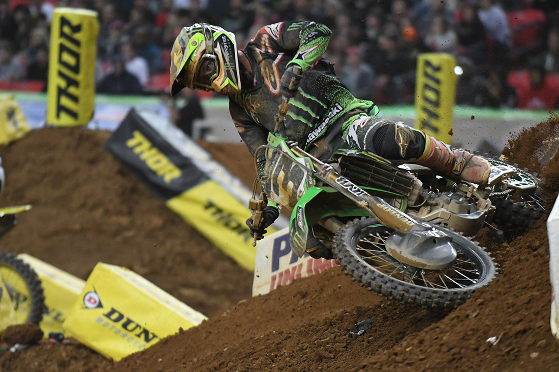Eli Tomac - Monster Energy Kawasaki chased Ryan Dungey - Red Bull KTM all night at the Main Event  of the 2017 Monster Energy Supercross event in Atlanta.