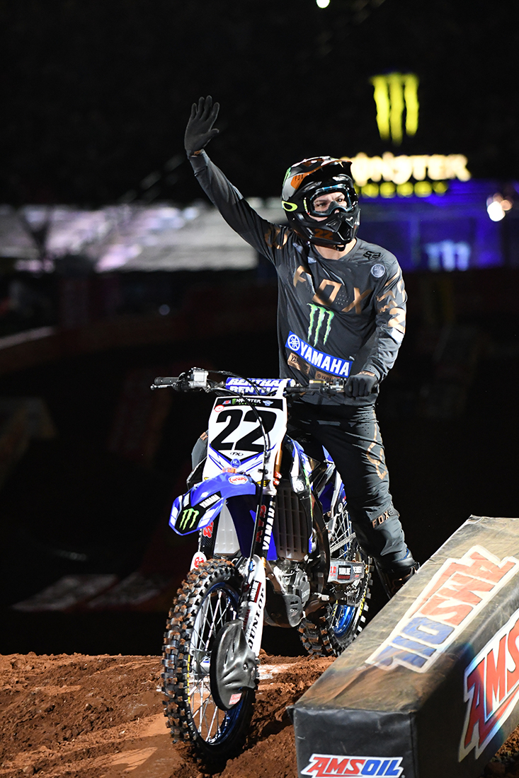 Chad Reed - Monster Energy Factory Yamaha waves to the crowd prior to the Main Event  of the 2017 Monster Energy Supercross event in Atlanta.