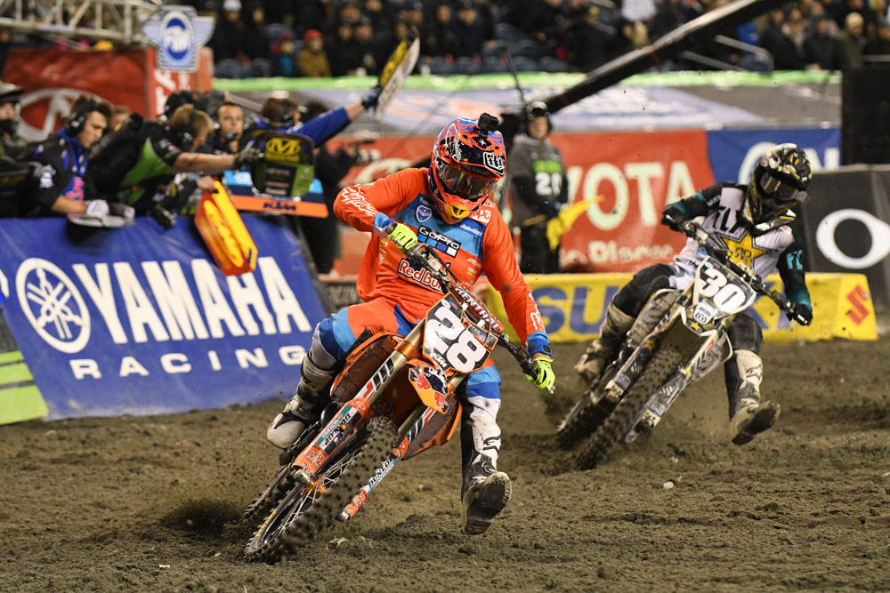 Mitchell Oldenburg Troy Lee Designs KTM and Martin Davalos - Rockstar Energy Husqvarna battle at the Seattle Monster Energy Supercross.