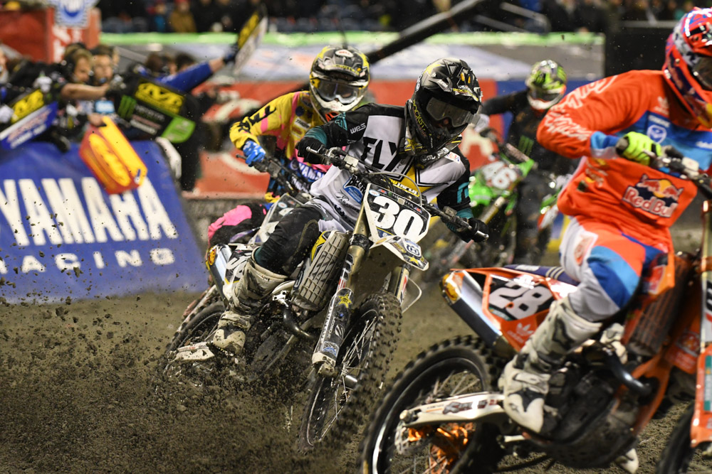 The top four finishers in the 250SX West at the Seattle Monster Energy Supercross.