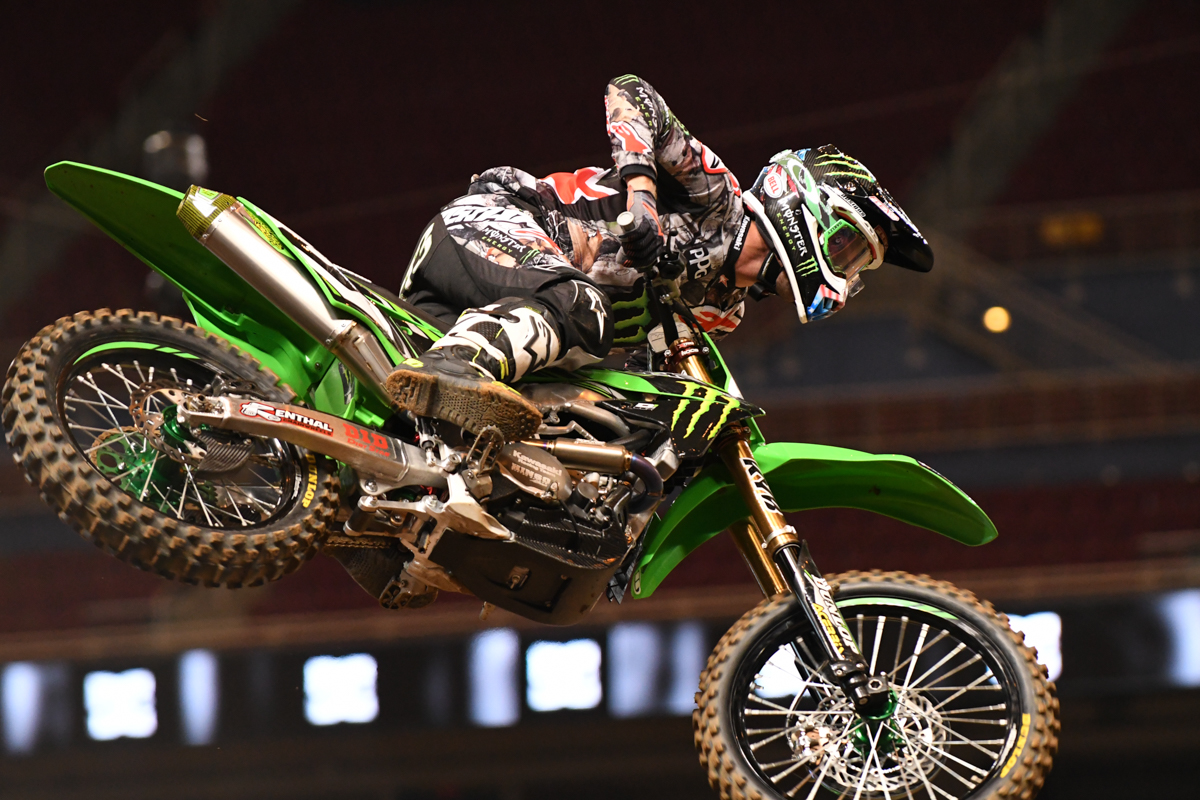 Eli Tomac - Monster Energy Kawasaki during practice at the St Louis Monster Energy Supercross.