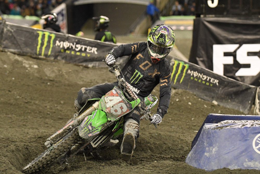 Justin Hill on his way to his 2nd place finish in the 250SX West Main Event at the Seattle Monster Energy Supercross.