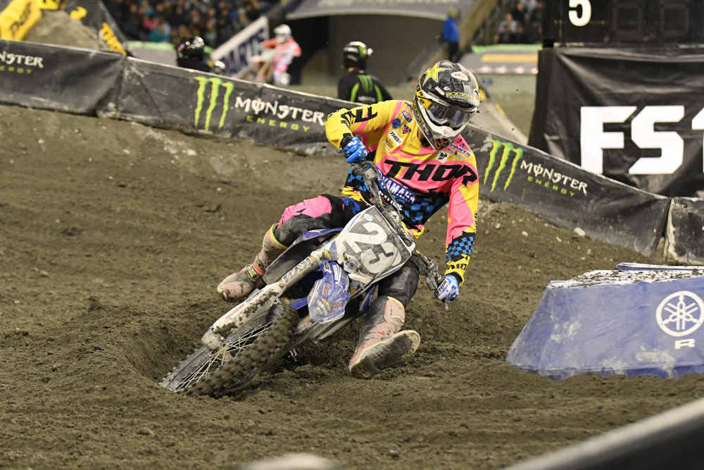 Aaron Plessinger - Yamalube/Thor Yamaha finished 1st in the 250SX West Main Event at the Seattle Monster Energy Supercross.