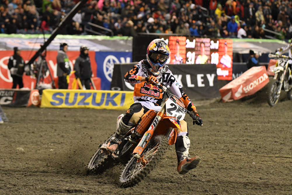 Marvin Musquin - Red Bull KTM on his 1st place finish at the Seattle Monster Energy Supercross.