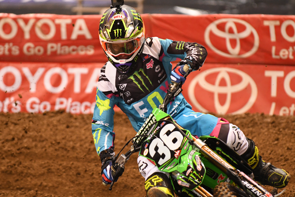 Adam Cianciarulo - Kawasaki during practice at the St Louis Monster Energy Supercross.