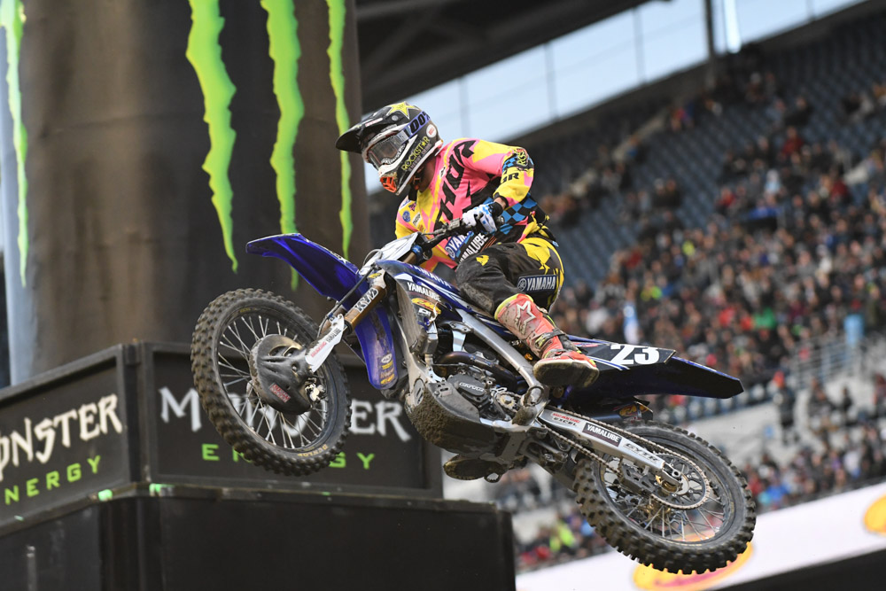 Aaron Plessinger - Yamalube/Thor Yamaha during afternoon qualifying at the Seattle Monster Energy Supercross.