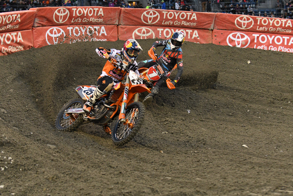 Marvin Musquin - Red Bull KTM and teammate Ryan Dungey - Red Bull KTM battled in their heat race at the Seattle Monster Energy Supercross.