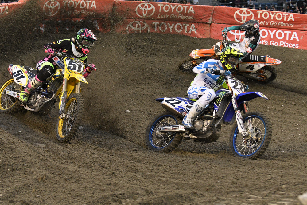 Chad Reed - Monster Energy Factory Yamaha leads Justin Barcia - Autotrader JGR Suzuki at the Seattle Monster Energy Supercross.