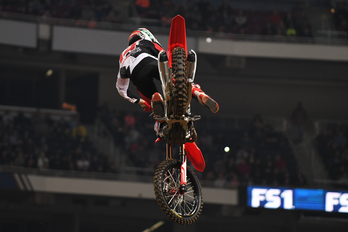 Cole Seely - Honda HRC shows the clean underside during opening ceremony hot lap at the St Louis Monster Energy Supercross.