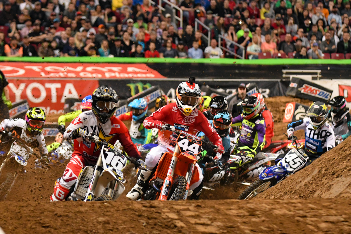 Jordon Smith - Troy Lee Designs Red Bull KTM leads his 250SX East semi at the St Louis Monster Energy Supercross.