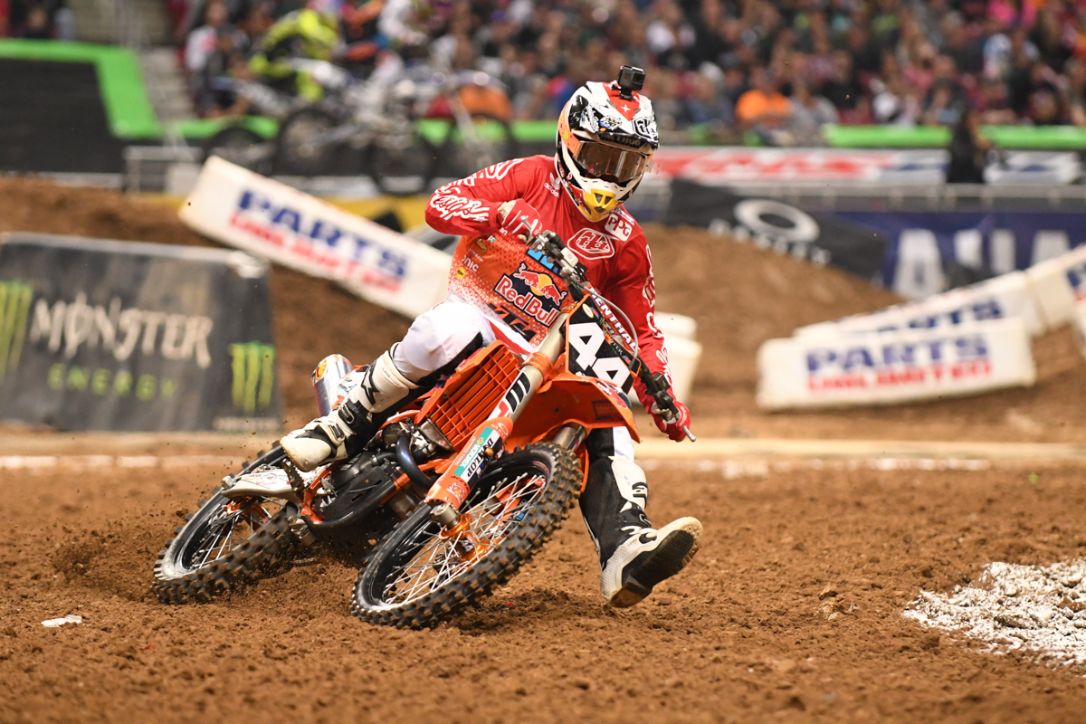 Jordon Smith - Troy Lee Designs Red Bull KTM was hot all night on his second straight 1st place finish in the 250SX East at the St Louis Monster Energy Supercross.