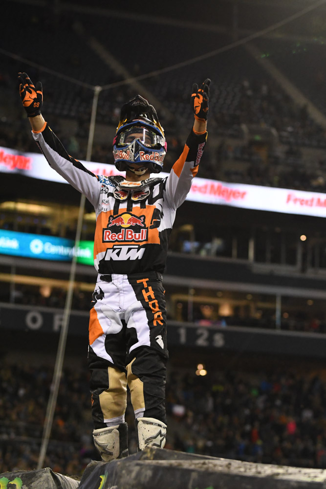 Marvin Musquin - Red Bull KTM salutes the crowd after his 450SX Main Event win at the Seattle Monster Energy Supercross.
