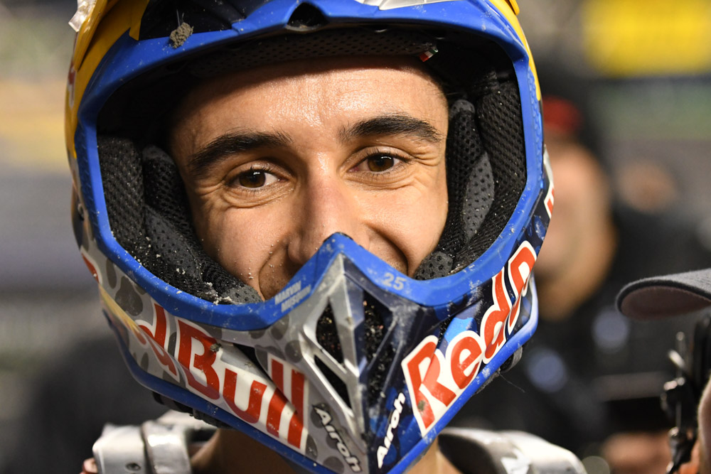 Marvin Musquin - Red Bull KTM is all smiles under his helmet after his 1st place finish in the 450SX Main Event at the Seattle Monster Energy Supercross.