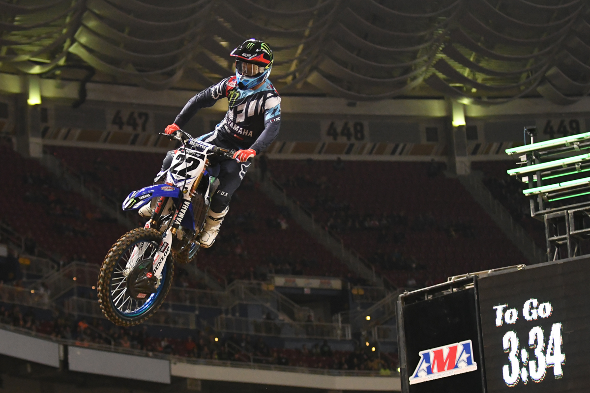 Chad Reed - Monster Energy Factory Yamaha flies the finish line triple at the St Louis Monster Energy Supercross.