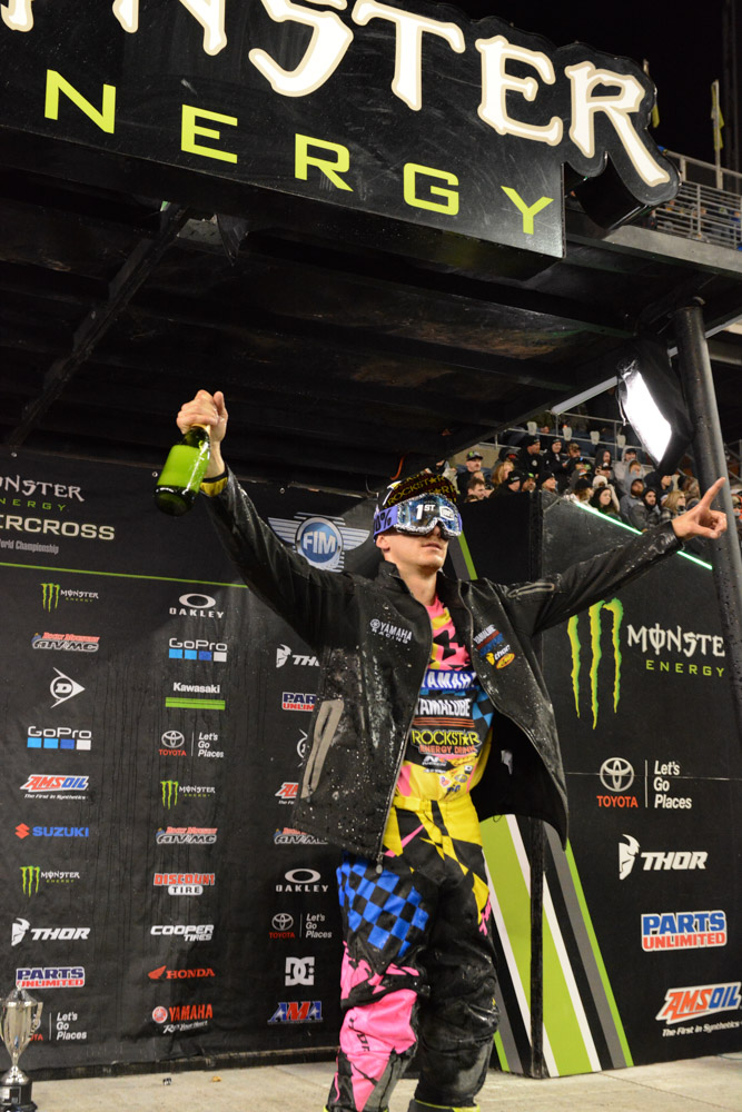 Aaron Plessinger - Yamalube/Thor Yamaha showing some podium style after winning the 250SX West Main Event at the Seattle Monster Energy Supercross.