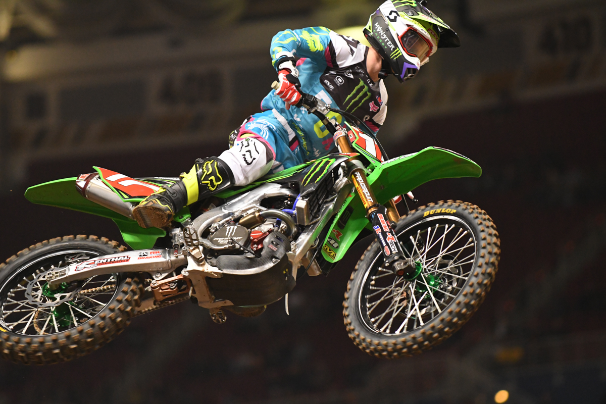 Joey Savatgy - Monster Energy Pro Circuit Kawasaki flies the red plate at the St Louis Monster Energy Supercross.
