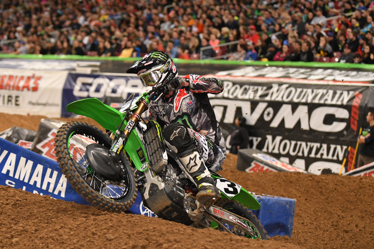 Eli Tomac - Monster Energy Kawasaki about to launch in to the rhythm section at the St Louis Monster Energy Supercross.