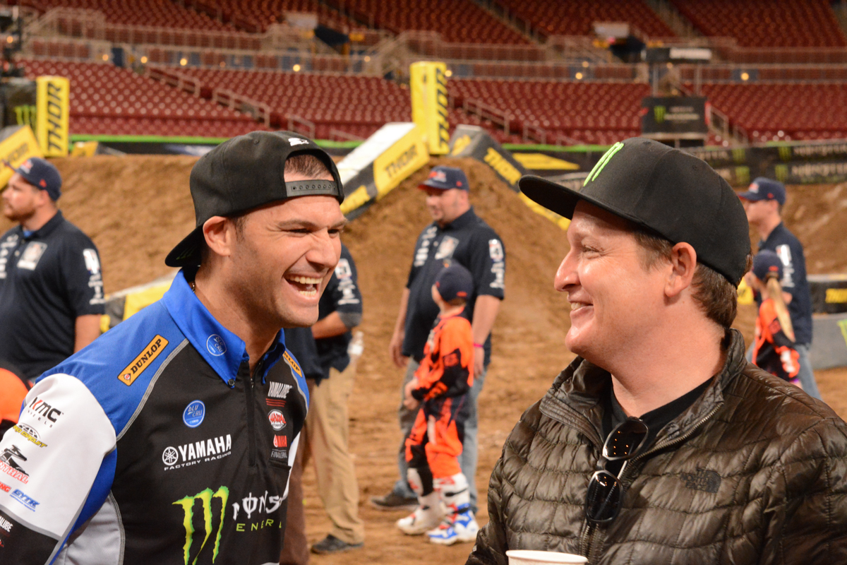 The GOAT and TwoTwo share a laugh after track walk at the St Louis Monster Energy Supercross.