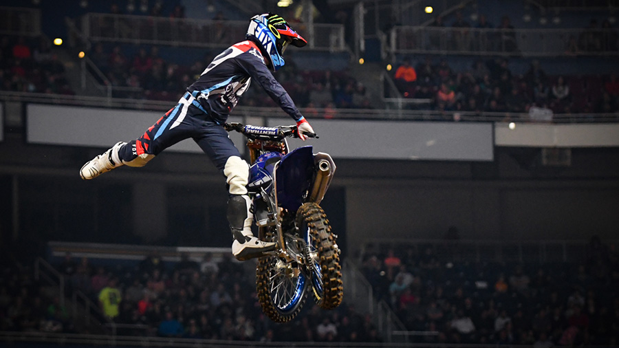 TwoTwo with his signatory form during hot lap at the St Louis Monster Energy Supercross.