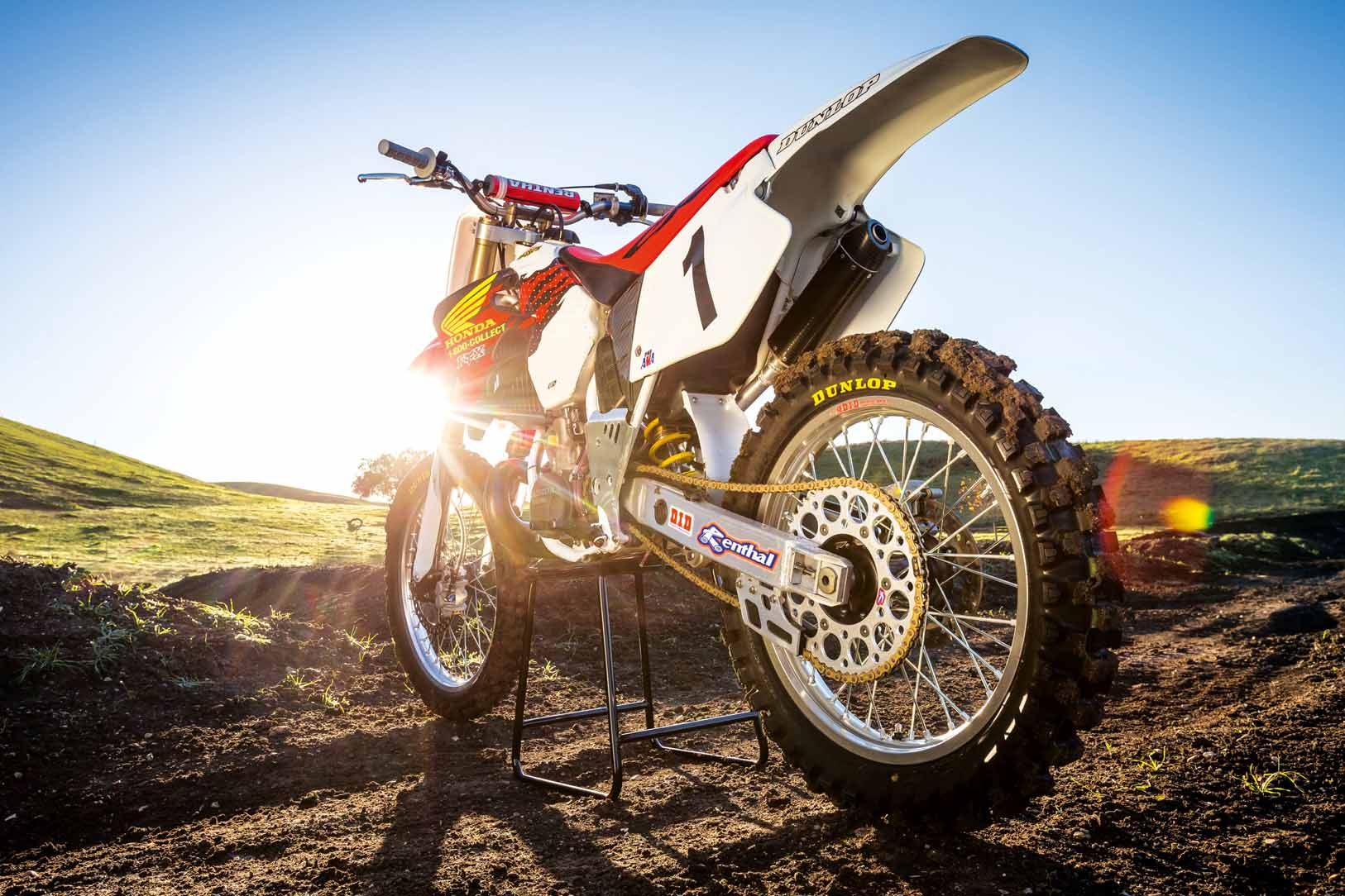 Jeremy McGrath's 1996 Honda CR250R sits prior to a video shoot with Ken Roczen, recreating segments from the original Terra Firma 2 motocross video at Castillo Ranch in Los Alamos, California, USA on 28 December 2016. // Garth Milan/Red Bull Content Pool // P-20170109-01418 // Usage for editorial use only // Please go to www.redbullcontentpool.com for further information. //