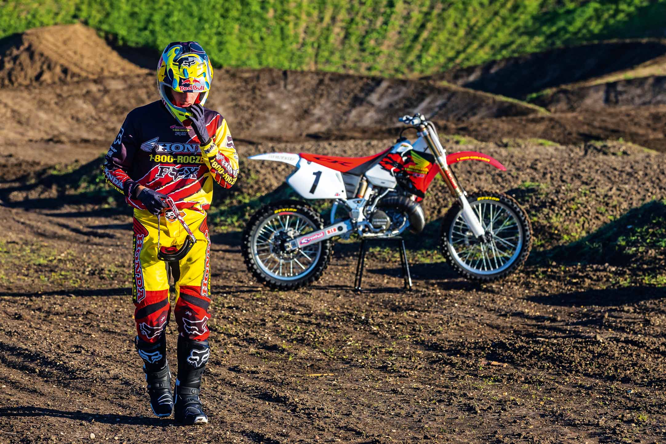 Ken Roczen prepares to ride Jeremy McGrath's 1996 Honda CR250R while recreating segments from the original Terra Firma 2 motocross video at Castillo Ranch in Los Alamos, California, USA on 28 December 2016. // Garth Milan/Red Bull Content Pool // P-20170109-01422 // Usage for editorial use only // Please go to www.redbullcontentpool.com for further information. //