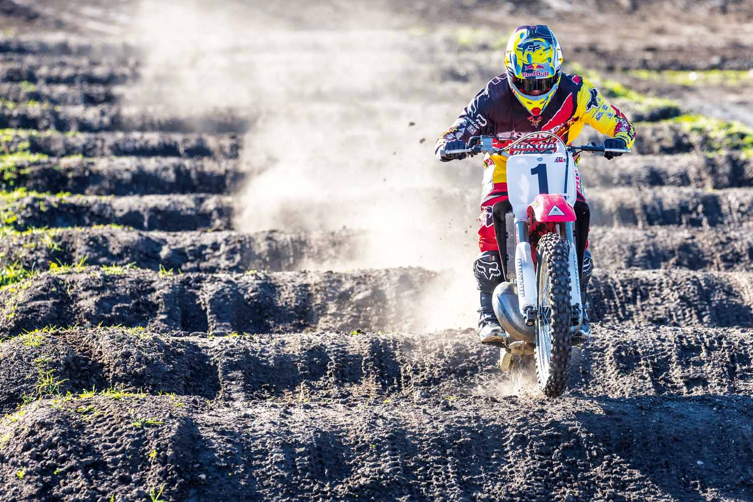 Ken Roczen rides Jeremy McGrath's 1996 Honda CR250R during a video shoot recreating segments from the original Terra Firma 2 motocross video at Castillo Ranch in Los Alamos, California, USA on 28 December 2016. // Garth Milan/Red Bull Content Pool // P-20170109-01442 // Usage for editorial use only // Please go to www.redbullcontentpool.com for further information. //