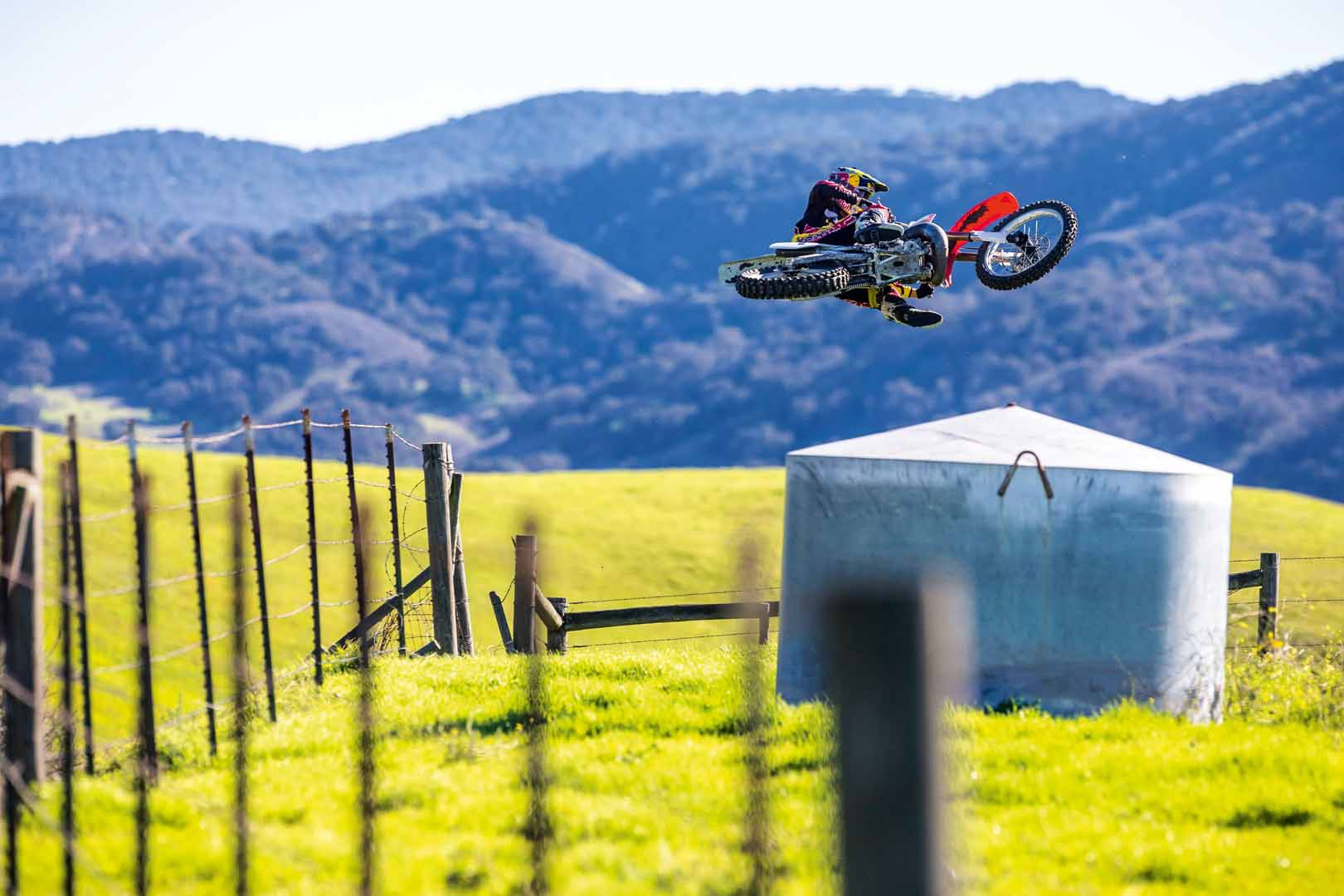 Ken Roczen rides Jeremy McGrath's 1996 Honda CR250R during a video shoot recreating segments from the original Terra Firma 2 motocross video at Castillo Ranch in Los Alamos, California, USA on 28 December 2016. // Garth Milan/Red Bull Content Pool // P-20170109-01476 // Usage for editorial use only // Please go to www.redbullcontentpool.com for further information. //
