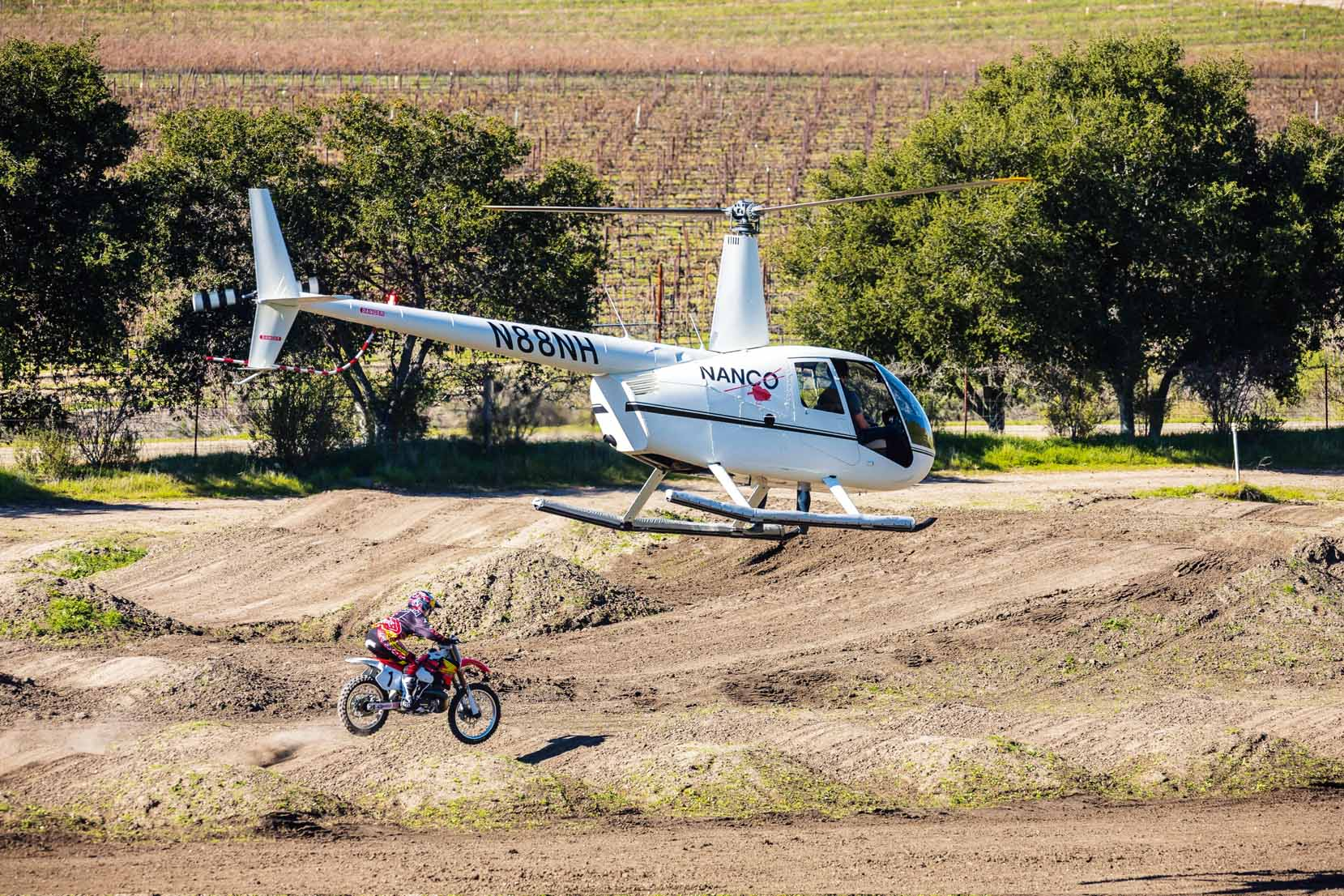 Ken Roczen rides Jeremy McGrath's 1996 Honda CR250R during a video shoot recreating segments from the original Terra Firma 2 motocross video at Castillo Ranch in Los Alamos, California, USA on 28 December 2016. // Garth Milan/Red Bull Content Pool // P-20170109-01474 // Usage for editorial use only // Please go to www.redbullcontentpool.com for further information. //