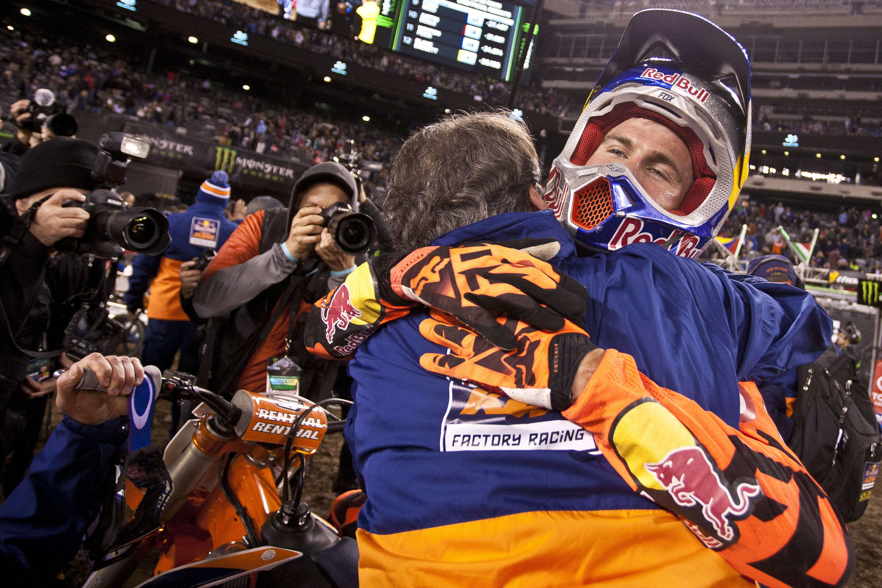Ryan Dungey celebrates after winning the AMA Supercross Series Championship at Met Life Stadium in East Rutherford, New Jersey, USA on April 30, 2016. // Garth Milan/Red Bull Content Pool // P-20160502-03280 // Usage for editorial use only // Please go to www.redbullcontentpool.com for further information. //