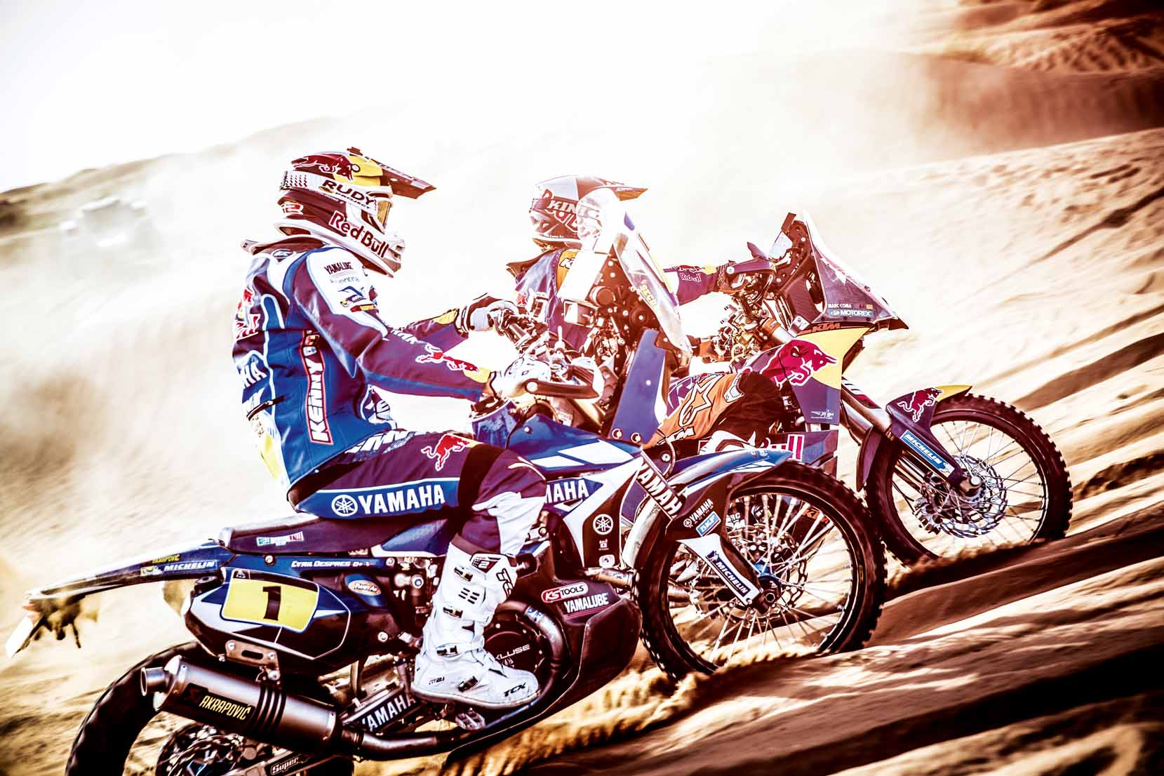 Cyril Despres of the Yamaha Racing Team and Marc Coma of the Red Bull KTM Factory Team perform during the Far Far West - A Fistful of Trophies in Erfourd, Morocco on October 9th, 2013 during an activation for Rally Dakar 2014 // Flavien Duhamel/Red Bull Content Pool // P-20131118-00224 // Usage for editorial use only // Please go to www.redbullcontentpool.com for further information. //