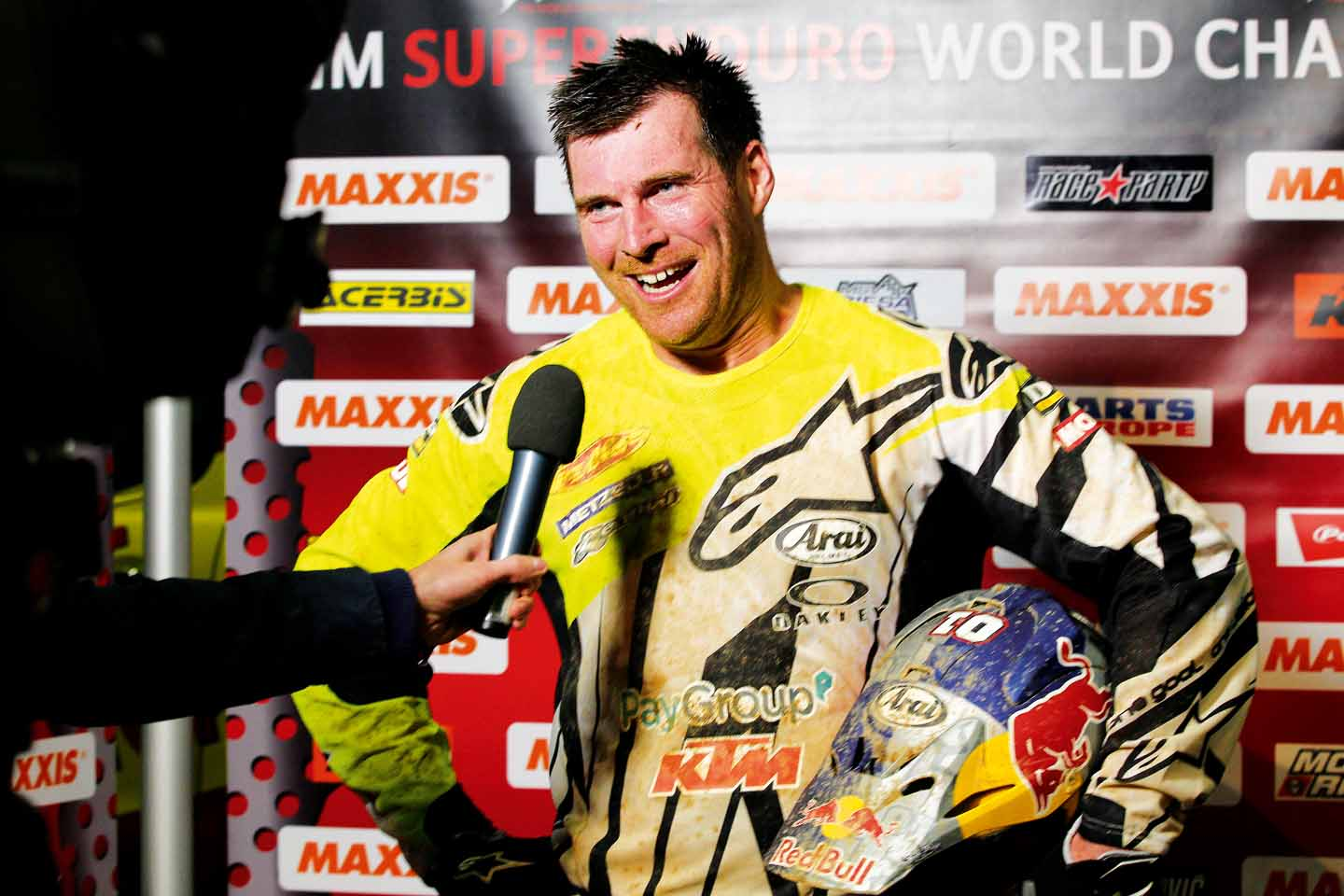 David Knight gives an interview during FIM Super Enduro World Championship in Riesa, Germany on January 3rd, 2015 // ABC COM / Red Bull Content Pool // P-20150105-00036 // Usage for editorial use only // Please go to www.redbullcontentpool.com for further information. //