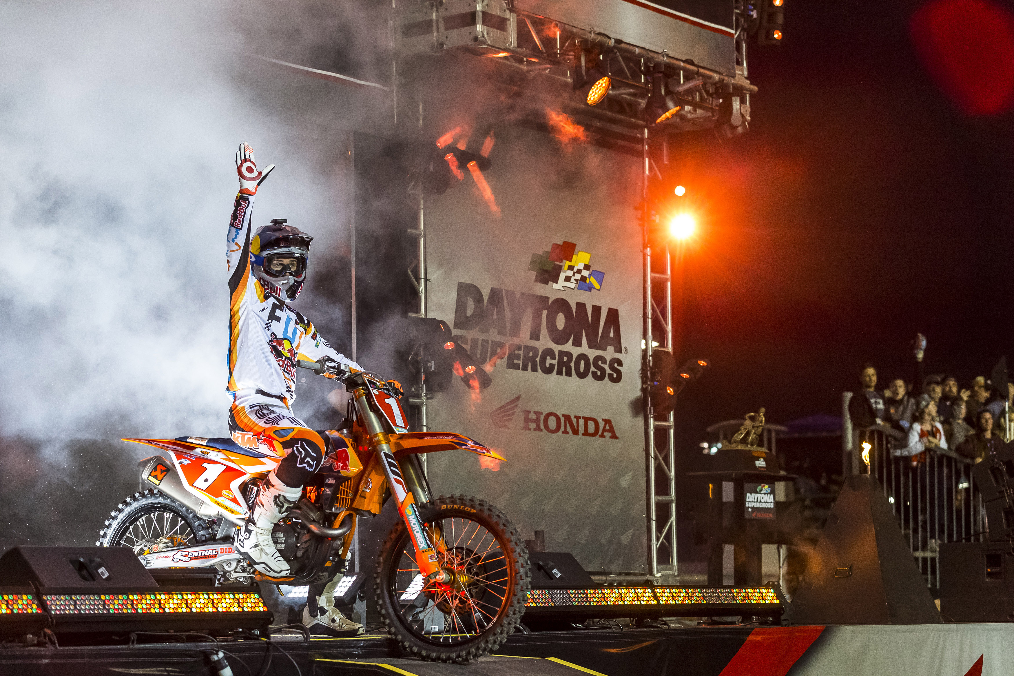 Ryan Dungey competes at Round Ten of the 2017 AMA Supercross Series at the Daytona International Speedway in Daytona, Florida, USA on 11 March 2017. // Garth Milan/Red Bull Content Pool // P-20170313-00326 // Usage for editorial use only // Please go to www.redbullcontentpool.com for further information. //