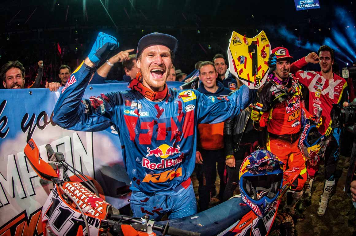 Taddy Blazusiak celebrates during Superenduro World Championship in Krakow, Poland on December 10, 2016 // Lukasz Nazdraczew/Red Bull Content Pool // P-20161212-00944 // Usage for editorial use only // Please go to www.redbullcontentpool.com for further information. //