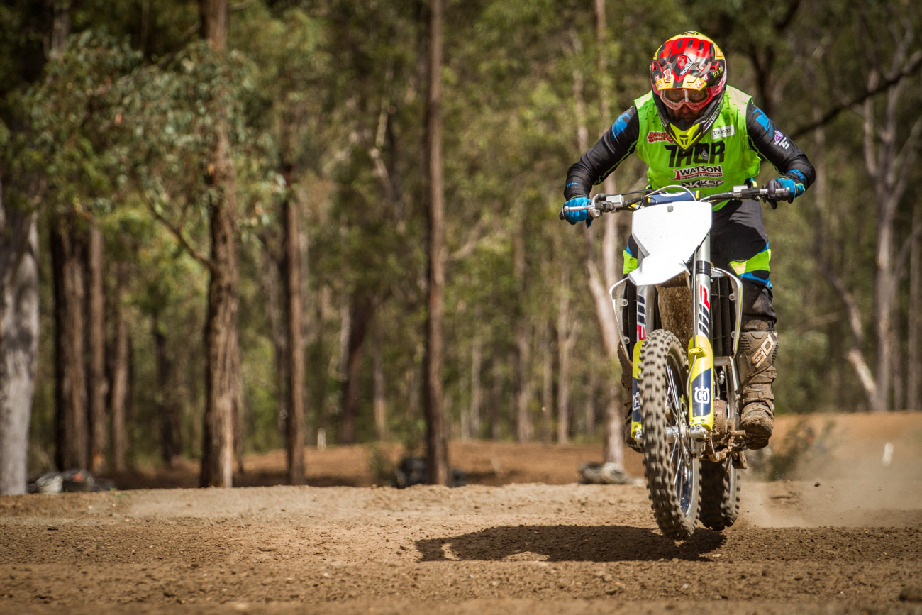 Ando skims across Maitland's whoops on the FC450.